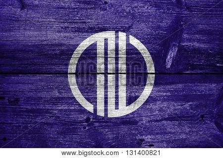 Flag Of Sendai, Japan, Painted On Old Wood Plank Background