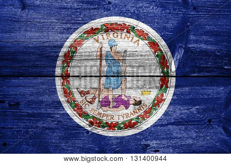 Flag Of The Commonwealth Of Virginia, Painted On Old Wood Plank