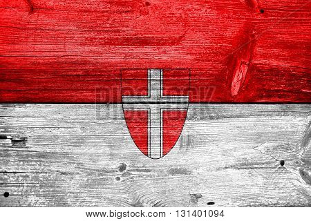 Flag Of Vienna State, Painted On Old Wood Plank Background