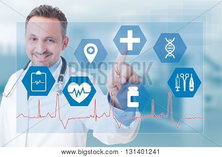 Smiling Young Medic Touching Medical Icon On Futuristic Screen