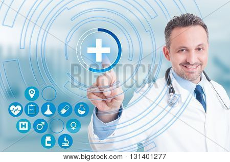 Doctor Hand Touching First Aid Cross Icon On Virtual Screen