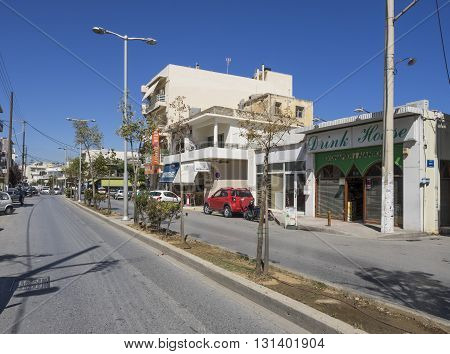 HERAKLION, GREECE - MAY 16: Street view of a suburb area of Heraklion in Crete at May 16, 2016