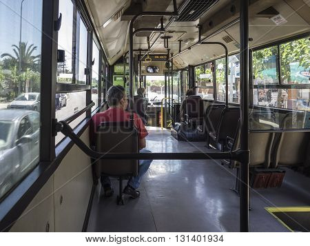 HERAKLION, GREECE - MAY 16: People in a local bus in Heraklion, Crete at May 16, 2016