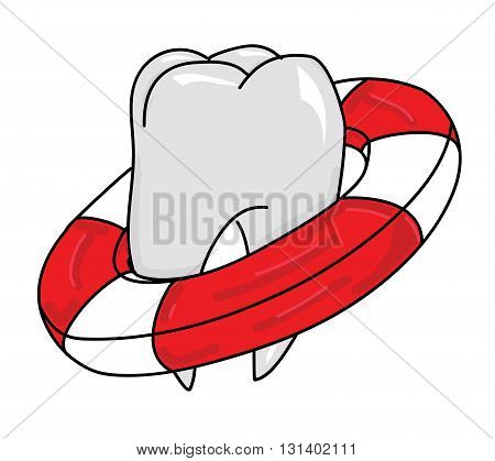 tooth in lifeline on a white background. vector illustration