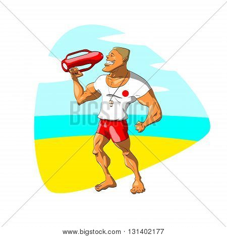 Colorful vector illustration of a male, muscular, young lifeguard watching over the people on the beach.