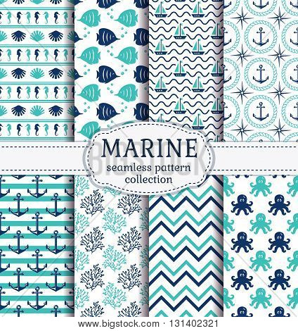 Set of marine and nautical backgrounds in navy blue turquoise and white colors. Sea theme. Cute seamless patterns collection. Vector illustration.