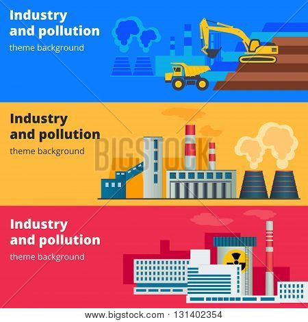Industry and environmental pollution theme templates background