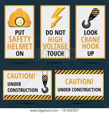 Safety rules theme posters and banners in yellow black and orange colors