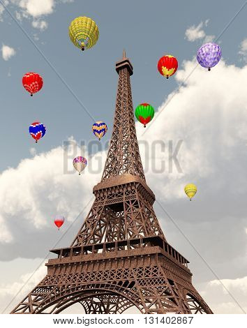 Computer generated 3D illustration with Eiffel Tower and hot air balloons