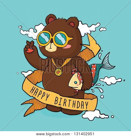 Vector Illustration of Cute Bear Holding Fish as Gift Cartoon Character with text Ribbon For Birthday Greeting Card