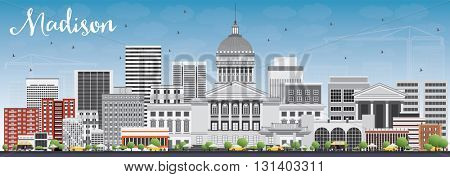 Madison Skyline with Gray Buildings and Blue Sky. Business Travel and Tourism Concept with Modern Buildings. Image for Presentation Banner Placard and Web Site.