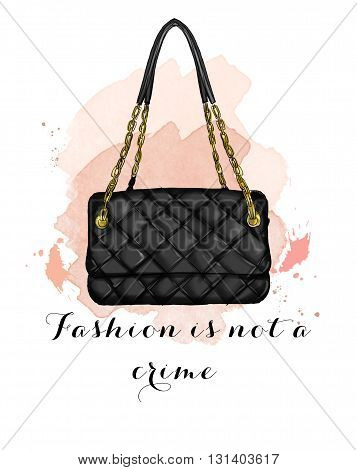 Fashion Illustration with quilt black handbag and text quote with watercolor background