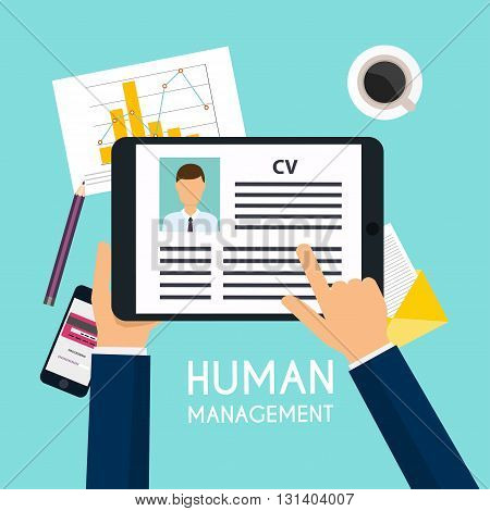 Hand holding a digital tablet with CV resume. Job interview concept. Writing a resume.