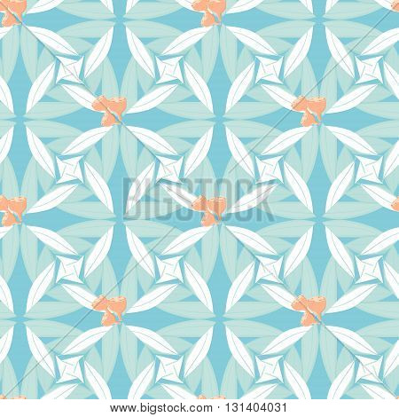 Abstract floral seamless background of stylized eucalyptus leaves and seeds in pastel hues. Australian native plant endless pattern. Great for textile prints and scrapbooking designs