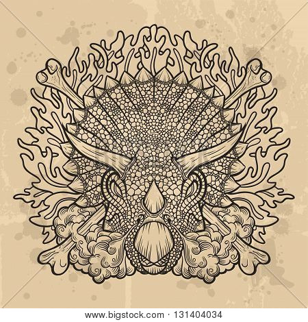 Illustration of furious triceratops - modern vector composition with retro vintage background