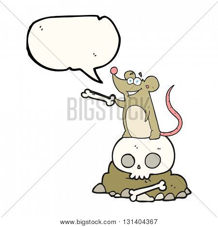 freehand drawn speech bubble cartoon graveyard rat