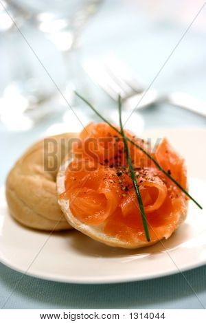 Mini Smoke Salmon Bagel