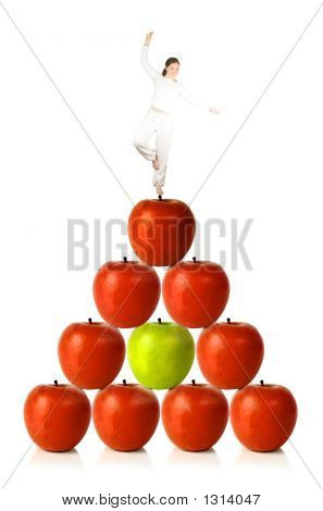 Balancing Diet - Woman Balancing On Red Apples