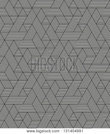 Modern stylish geometric texture with irregular structure of striped hexagons - vector seamless pattern