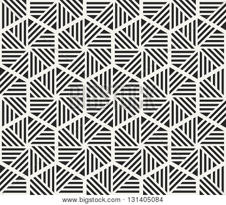 Modern stylish monochrome hexagonal texture with geometric structure - vector seamless pattern