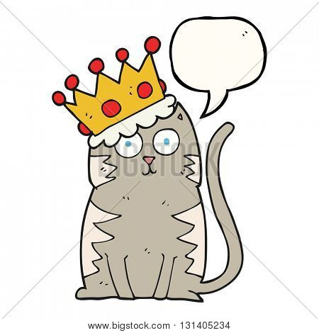 freehand drawn speech bubble cartoon cat with crown