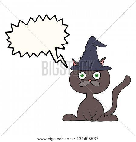 freehand drawn speech bubble cartoon halloween cat