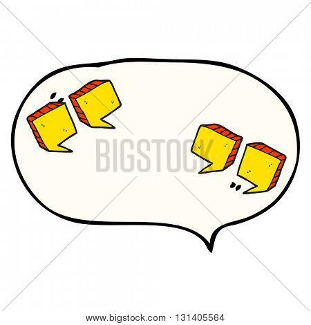 freehand drawn speech bubble cartoon quotation marks
