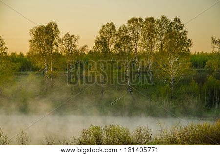 fog over the water. morning fog thick mist over the lake. landscape early in the morning warm. the sun rises and lights up the birch forest with a pond in the fog.