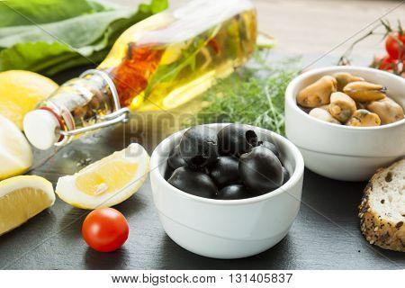 Mediterranean Food On Black Stone Board