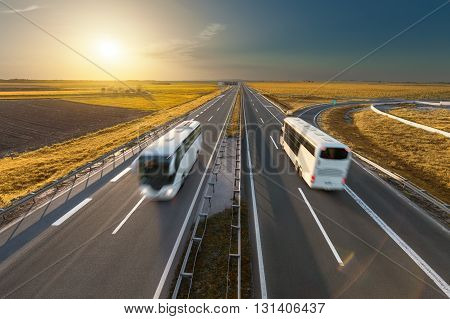 Modern white buses driving in speed blurred motion on the freeway at beautiful sunset. Transport and travel scene on the motorway near Belgrade Serbia.