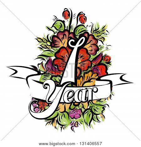 1 Year Greeting Card Design