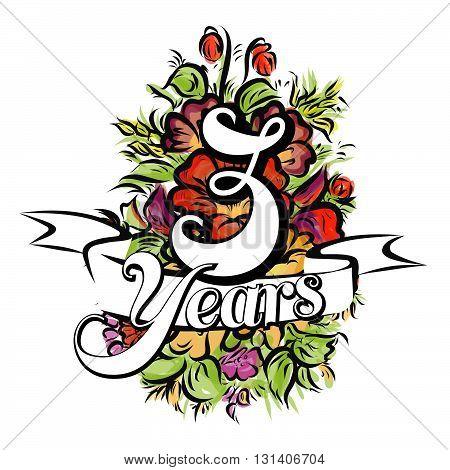 3 Years Greeting Card Design