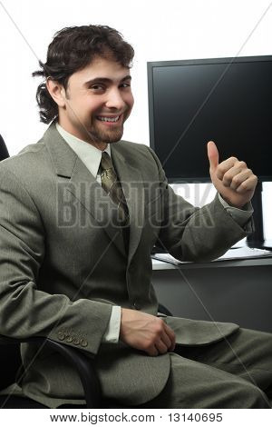 Business theme: successful businessman in a work process.
