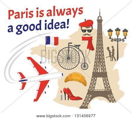 Paris decorative flat icons set with french flag map street actor eiffel tower red shoes vector illustration
