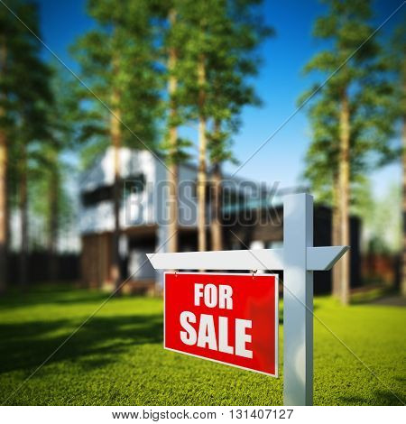 A 3D render illustration of Home For Sale sign in front of new modern house.