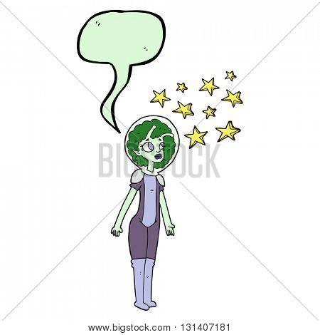 freehand drawn speech bubble cartoon alien space girl