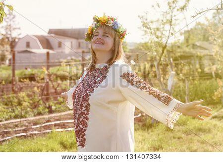 Portrait Happy Ukrainian woman