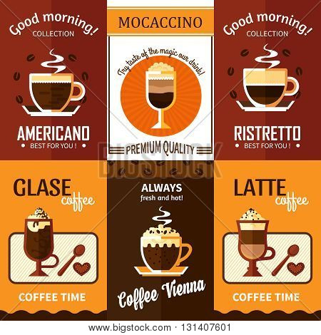 Set of six coffee posters with advertising of cup of hot fresh coffee premium quality for coffeehouse menu vector illustration