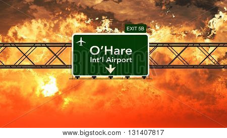 Passing Under Chicago Ohare Usa Airport Highway Sign In A Beautiful Cloudy Sunset