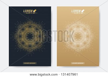 Modern vector template for brochure, Leaflet, flyer, cover, magazine or annual report. A4 size. Business, science, medicine and technology design book layout. Abstract presentation with golden mandala.