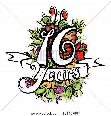 16 Years Greeting Card Design