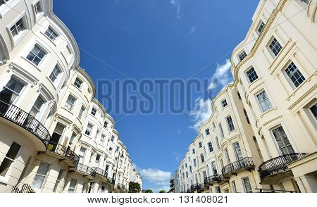 Bow fronted Regencey (georgian) houses in Brighton UK