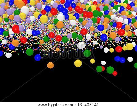 Computer generated 3D illustration with toy balloons isolated on black background