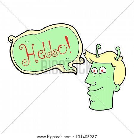 freehand drawn speech bubble cartoon alien man