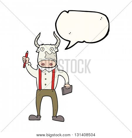 freehand drawn speech bubble cartoon bull man
