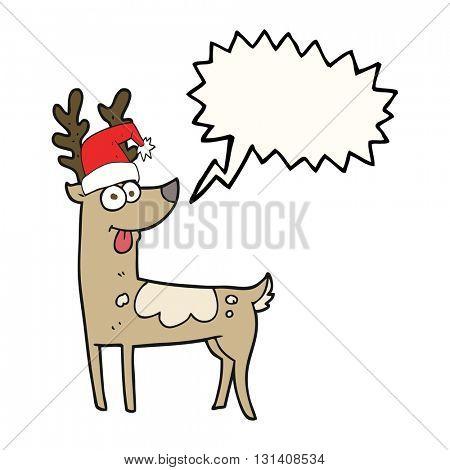 freehand drawn speech bubble cartoon crazy reindeer