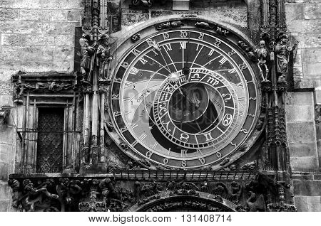 Close view of Prague medieval Astronomical Clock, Czech Republic. Black and white