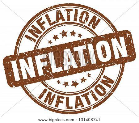 inflation brown grunge round vintage rubber stamp.