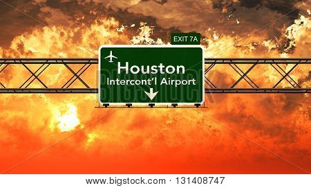Passing Under Houston Usa Airport Highway Sign In A Beautiful Cloudy Sunset