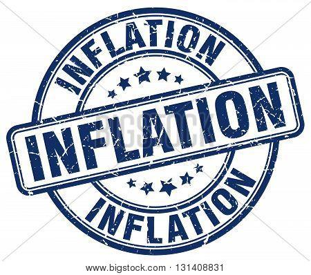 inflation blue grunge round vintage rubber stamp.
